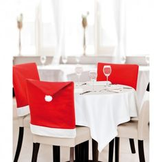 Santa Red Hat Chair Back Covers Christmas Decoration Dinner Chair Decor Dining Chair Seat Covers, Chair Back Covers, Dining Chair Slipcovers, Dining Chairs, Christmas Dining Table, Christmas Table Decorations, Decoration Table, Christmas Chair Covers, Home Decor
