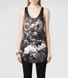 Womens Flora Mortis Vest (Black/White) | ALLSAINTS.com