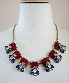 Maroon Geometric Necklace Rectangular