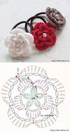 Цветочек крючком для украшения резиночки для волос
