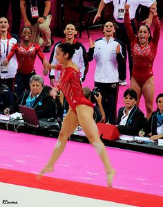 USA winning team gold - London 2012; I absolutely love the look on all of their faces- Aly realizes how well she's done and looks like she's about to cry, the rest are screaming and smiling like crazy