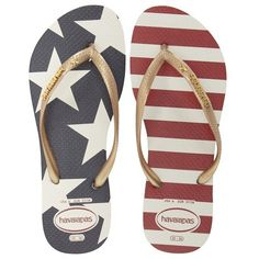 """Havaianas 'Slim Stars and Stripes' Flip Flop, 1"""" heel (48 255 LBP) ❤ liked on Polyvore featuring shoes, sandals, flip flops, water proof shoes, waterproof shoes, waterproof sandals, star shoes and waterproof flip flops"""
