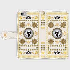 手帳型スマホケースS/M 黒猫洋書◆白