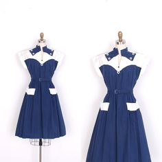 Vintage 1940s Dress / 40s Nautical Cotton Day Dress / Navy Blue and White (medium M)
