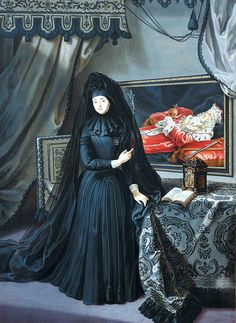 1717 Anna Maria Luisa de' Medici, Electress Palatine, in mourning dress by Jan Frans van Douven