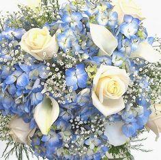 Blue wedding flowers Blue Hydrangea, white roses,white calla lilies and white gypsophelia   www.myfloweraffair.net