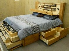 New!! Knotty Alder KING Bed w/CONCEALED Storage. Solid Wood, Natural Finish
