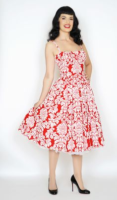 Paris Dress in Red Damask - Bernie Dexter