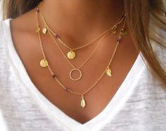 Or en couches ensemble de collier ; Bague, Pierre améthyste et charmes ; Collier de couche ; Collier breloques ; sautoir ; Choisissez vos perles et pendentif