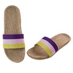 Stripes Linen Slippers For Women