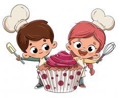 Happy boy and girl with cupcake - Vector - Dibustock, Ilustraciones infantiles de Stock Cupcake Vector, Cupcake Cupcake, Cake Illustration, Character Illustration, Cartoon Cookie, Cake Logo Design, Pink Backdrop, Cute Happy Birthday, Comic Poster