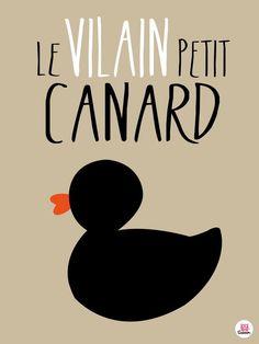 """Affiche """" Le vilain petit canard """" conte pour enfants écrit par Hans Christian Andersen 1842"""