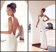Simple Design Mermaid Spaghetti Straps Sweep Train White Satin Backless Wedding Dresses Beach Y Corset