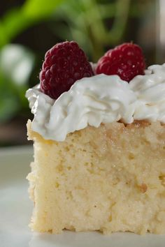 Moist two layer cake with vanilla sponge cake base soaked in three kinds of milk, topped with whipped cream. An easy and simple recipe for Authentic Tres Leches cake.