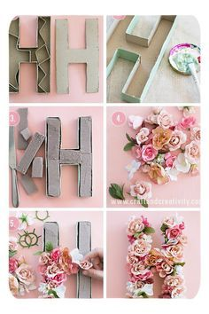 Do It Yourself Solar Electricity For Your House 10 Summer Diy Projects You Must Try Tutorials Cute Diy Crafts Floral Letters Floral Diy Wonder Forest Paper Mache Letters, Diy Letters, Flower Letters, Cardboard Letters, Nursery Letters, Decorative Letters For Wall, Letter Wall Art, Decorative Crafts, Letter Crafts