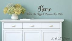 HOME Where the Happiest Memories are Made -Vinyl Wall Decal-Kitchen Decor- Entryway Decor- Home Decor- Family Wall Decor by landbgraphics on Etsy