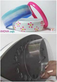 Bracelets à partir d'une bouteille en plastique - Passer les bords au fer à te...