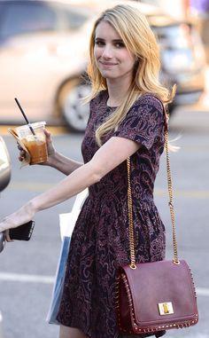We're loving Emma's gorgeous bag here! #CelebStyle #EmmaRoberts #Purse