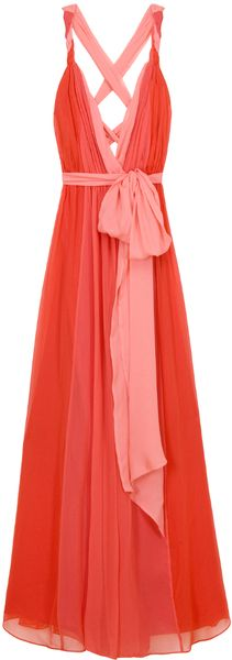 Halston Heritage Rolled Strap Grecian Gown in Red