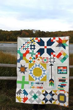 modern sampler quilt I'd love to add some flying geese like this to my Bonnie & Camille sampler quilt.