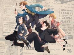 """Newt Scamander, Tina and Queenie Goldstein, and Jacob Kowalski from """"Fantastic Beasts and Where to Find Them. Harry Potter Fan Art, Harry Potter Universal, Harry Potter World, Harry Potter Memes, Fantastic Beasts Fanart, Fantastic Beasts And Where, Hogwarts, Midle Earth, Imprimibles Harry Potter"""