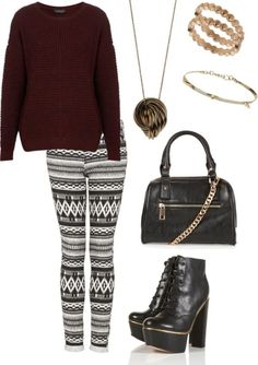 Maroon sweater w/ leggings and black boots