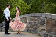 Central Park Engagement Session by Christian Oth Studio. The bride-to-be wore a blush, Marchesa gown