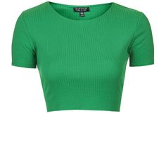 TOPSHOP Wide Cotton Ribbed Crop Top ($12) ❤ liked on Polyvore featuring tops, crop tops, shirts, crop, bright green, rib shirt, crop shirts, topshop shirt, ribbed shirt and green top