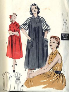 Vintage ©1953 Butterick 6748 Misses Morning Dress, House Coat with Raglan Sleeves or Cut Away Sleeveless Sewing Pattern Size 16, Bust 34