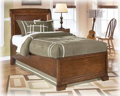 Alea Youth Medium Brown Wood Full Sleigh Bed