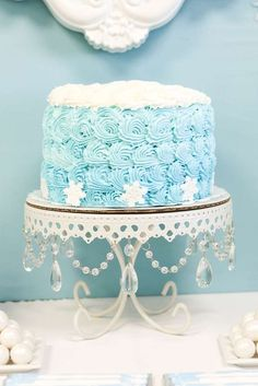 Gorgeous cakes at a Frozen birthday party! See more party ideas at CatchMyParty.com!