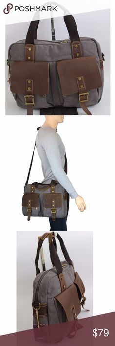 """Men's Top Zip Briefcase Shoulder Bag Messenger If you are not looking for a name brand, but quality bag, this bag will be a perfect gift for yourself or someone you love. Made of genuine cow leather and durable canvas that gives the bag a timeless and classic feel. 16""""W X12""""H X 4"""" D. Able to fit a 15 inch Macbook Pro Retina/Air, the new 12 inch Macbook, any laptop up to 15 inch Two zipped wall pockets for storing of smartphone, earphones, wallet and accessories. Comes with a detachable…"""