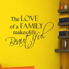 Vinyl Wall Decals The Love of a Family makes life Beautiful Family Quote Decal Lettering Sticker Home Decor Art Mural Z673