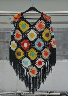 granny square crochet flower poncho with black fringes
