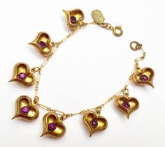 Gold heart Charm Bracelet - Signed Pididdly links -Purple rhinestone -Gold plated link bangle #etsy #vintage #bracelet