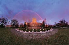 Early morning rainbow over Burruss Hall and April 16 Memorial. Virginia Tech. #virginiatech #hokies #burrusshall
