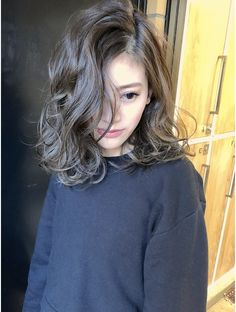 Medium Permed Hairstyles, Curled Hairstyles, Pretty Hairstyles, Digital Perm Short Hair, Medium Hair Styles, Short Hair Styles, Hair Medium, Asian Hair, Love Hair
