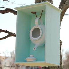DIY Teapot Birdhouse: ROBINS NESTING PLACE Im heading to a thrift shop today to get a tea potwith any luck its not too late for a nesting bird!