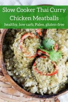 Slow Cooker Thai Curry Chicken Meatballs - Slender Kitchen. Works for Clean Eating, Gluten Free, Low Carb, Paleo, Weight Watchers® and Whole30® diets. 284 Calories.