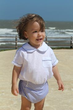 Sailor Outfit / Conjunto Marinero Rompers, Face, Outfit, Dresses, Fashion, Blue Stripes, Pockets, Shirts, Chic