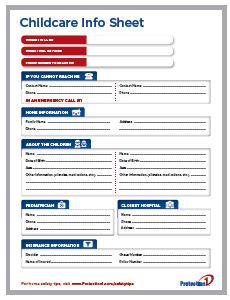 In honor of national safety month we are offering a free for Daycare information sheet template