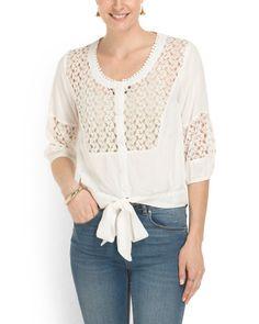 Tie Front Crochet Inset Top