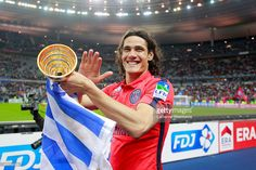 Edinson Cavani #9 of Paris Saint-Germain FC celebrates the victory of the French League Cup Final (Coupe de la Ligue) game between SC Bastia and Paris Saint-Germain FC at Stade de France on April 11, 2015 in Saint Denis near Paris, France.