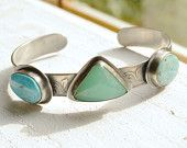 Turquoise Chrysoprase Cuff Bracelet in Etched Sterling Silver  Modern Metalwork Silver and Stone One of a Kind Bold