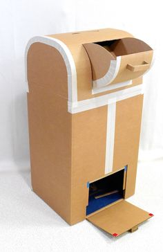 Today, I am excited to launch my first cardboard pattern! Which is confusing, I know, . Post Box Cardboard, Cardboard Box Crafts, Cardboard Toys, Santa Mailbox, Diy Mailbox, Diy For Kids, Crafts For Kids, Valentine Box, Christmas Makes