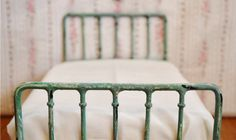 Doll Bed Metal Vintage Style Shabby Chic Miniature 1/6 Playscale, Barbie, Blythe. $69.99, via Etsy.