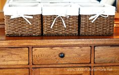 MASTER BEDROOM: I try to keep the dresser clear of clutter. The baskets, from target, are used for my perfume, candles, and e readers. The dresser can be the biggest clutter magnet in the room. Try to keep it nicely organized.