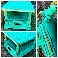 Distressed wood turquoise end table furniture by ann