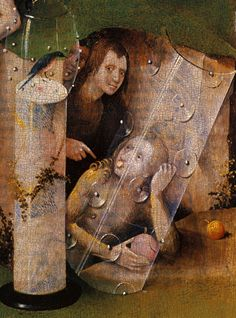 1480-1490 Hieronymus Bosch The Garden of Earthly Delights, Paradise imaginary Characters and glass Detail