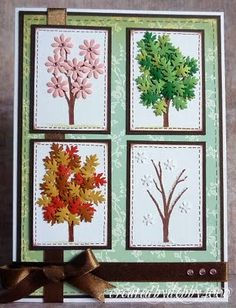 VISIT FOR MORE another great card from Debby…four seasons tree done with punched leaves and flowers…beautiful and creative… Cute Cards, Diy Cards, Thanksgiving Cards, Fall Cards, Card Making Inspiration, Creative Cards, Four Seasons, Scrapbook Cards, Homemade Cards